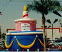 advertising inflatable - giant 25 ft. birthday cake balloon